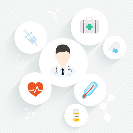 general practitioner: Medical doctor. Vector illustration of a male medical doctor or general practitioner with medical icons.