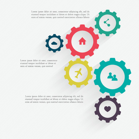 consulting services: Business mechanism concept. Abstract background with connected gears and icons for strategy, service, analytics, research, seo, digital marketing, communicate concepts. Vector infographic illustration Illustration