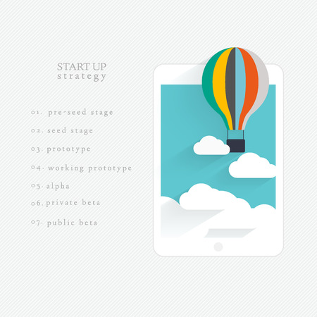 Flat vector design of the startup process, cloud storage, responsive web design and SEO with hot air balloon Vector