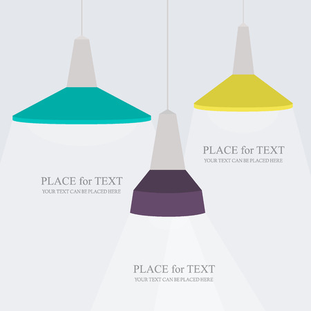 spotlight lamp: Spotlights with copy space for own text or graphics Illustration