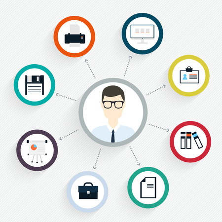 Vector flat customer office concept - icons and infographic design elements - client experience Vector