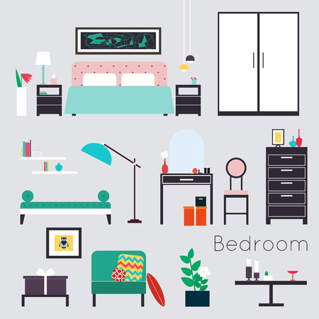 Bedroom. Furniture and Accessories Illustration