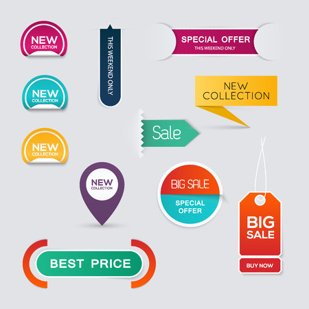 sale tags: Collection of Sale Discount Styled origami Banners.  Illustration