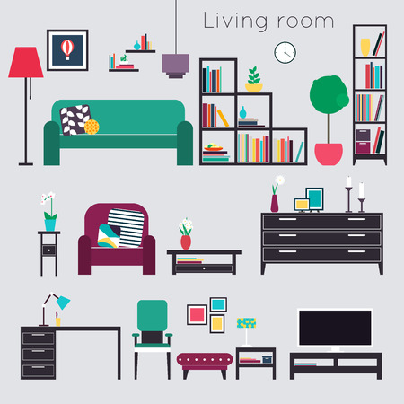 living room furniture: Living room. Furniture and Home Accessories Illustration