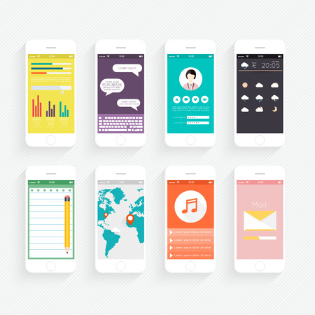 Vector Collection of Mobile Phones with User Interface and Infographic Elements.  Ilustracja
