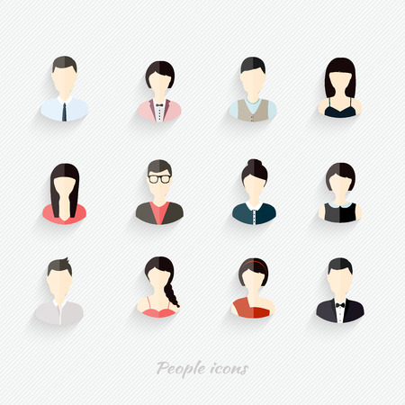 portrait: People icons. People Flat icons collection Illustration