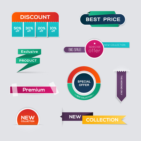 discount: Collection of Sale Discount Styled origami Banners.  Illustration