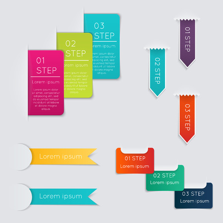 box: Set of colorful text box with steps, trendy colors.  Illustration