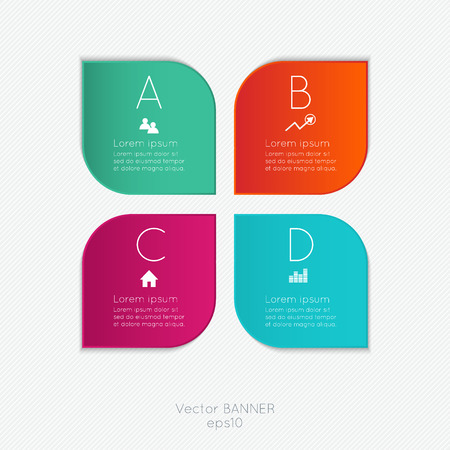 trendy: Vector colorful text box, trendy colors Illustration
