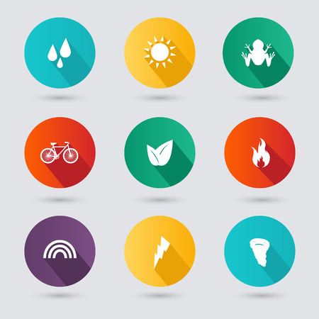 fire water: Design style nature icons set