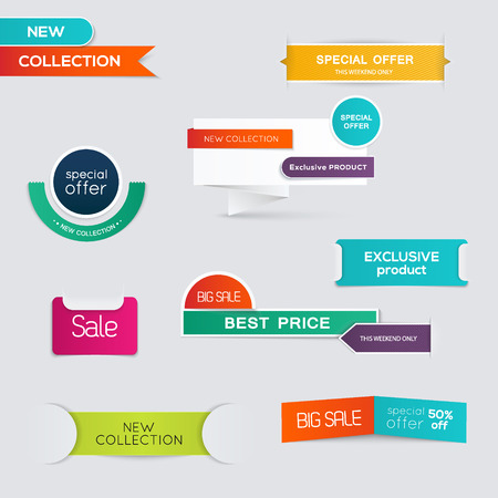discount buttons: Collection of Sale Discount Styled origami Banners. Vector Illustration Illustration