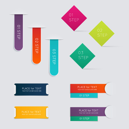 Set of colorful text box with steps, trendy colors.  Ilustracja