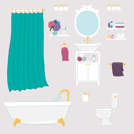 toilet paper art: Set of vector bathroom and personal hygiene icons