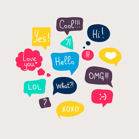 Colorful questions speech bubbles set in flat design with short messages.