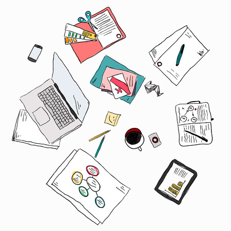 Business meeting concept top view people hands sketch  Stock Illustratie