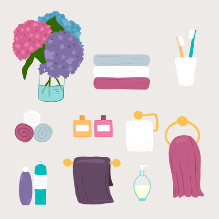 toilet paper art: Set of vector bathroom and personal hygiene icons  Illustration