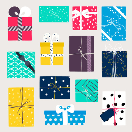 Vector set with gift boxes in crafting paper. Vintage illustration Vector