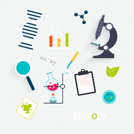 medical gloves: Vector Set: Science Lab Objects and Icons Illustration
