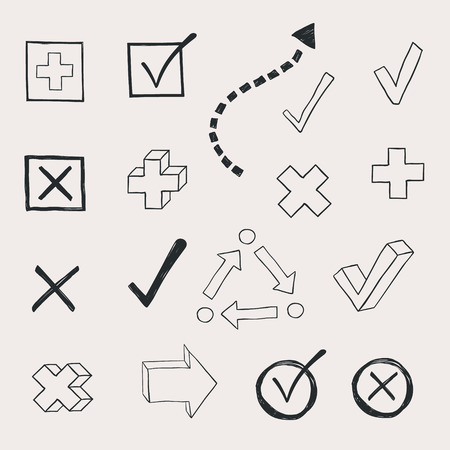 doodled: check marks and check boxes drawn in a doodled style Illustration
