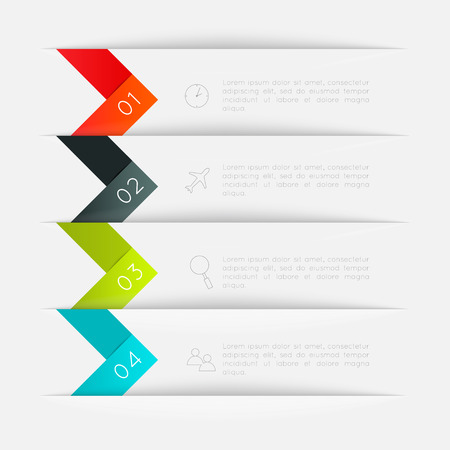 graphic: Set of colorful text box with steps, trendy colors.  Illustration