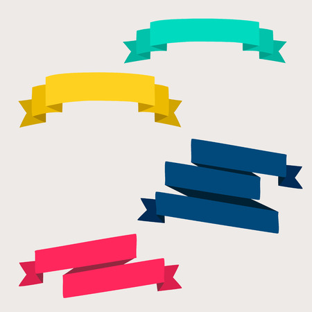blue banner: Colorful and decorated paper banners for your text