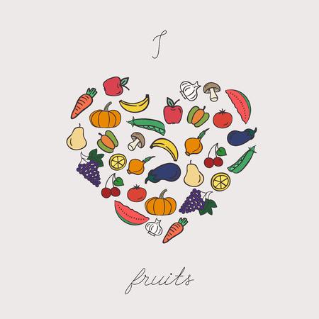 arranged: Vegetables arranged in heart shape