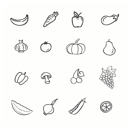 pepino caricatura: Vector conjunto de verduras y frutas Vectores