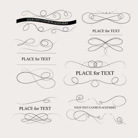 color page: Floral design elements vintage dividers in black color. Page decoration.