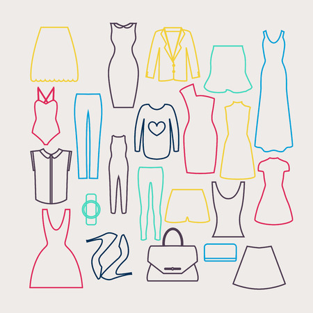 vamp: Clothes icon vector set