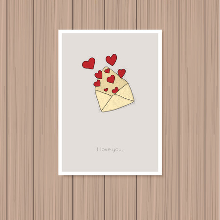 day saint valentin: Valentines day greeting card on a wooden background