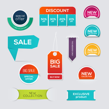 Collection of Sale Discount Styled origami Banners. Vector Illustration Ilustração