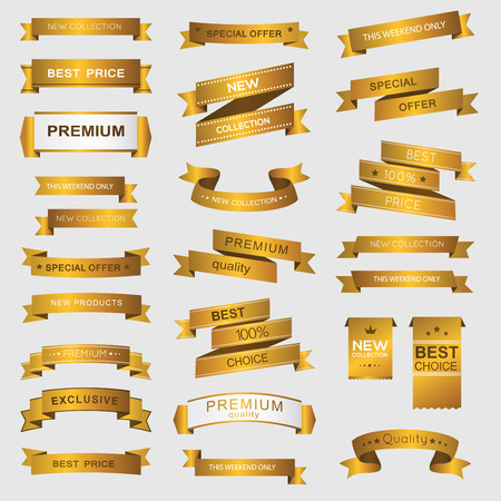 scrolls: Collection of golden premium promo banners. isolated vector illustration