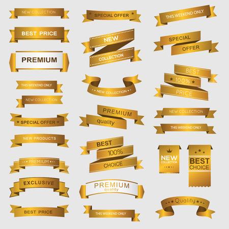 Verzameling van gouden premium promo banners. geïsoleerde vector illustratie Stockfoto - 37032690