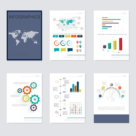 website template: Set of infographics elements in modern flat business style. Can be used for info graphics, graphic or website layout vector, numbered banners, diagram, flyer, corporate report, marketing etc, web.