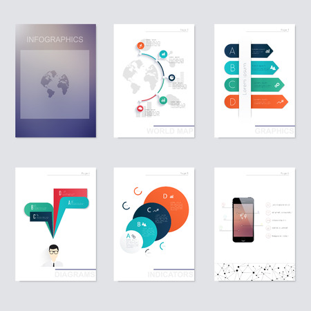 Set of infographics elements in modern flat business style. Can be used for info graphics, graphic or website layout vector, numbered banners, diagram, flyer, corporate report, marketing etc, web.