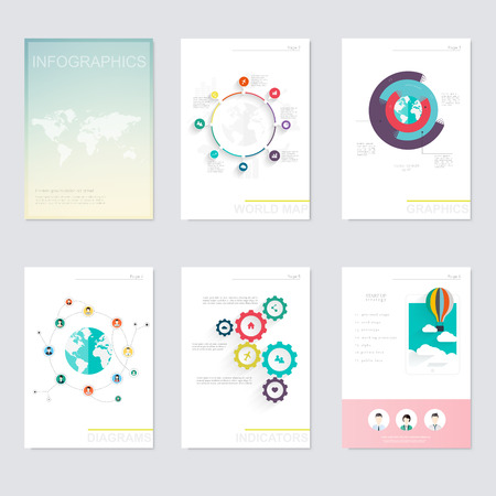 graphic: Set of infographics elements in modern flat business style. Can be used for info graphics, graphic or website layout vector, numbered banners, diagram, flyer, corporate report, marketing etc, web.