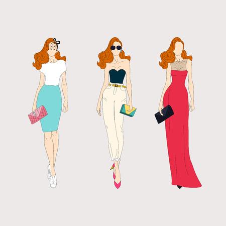 fashion dresses: Hand drawn fashion girls. Illustration
