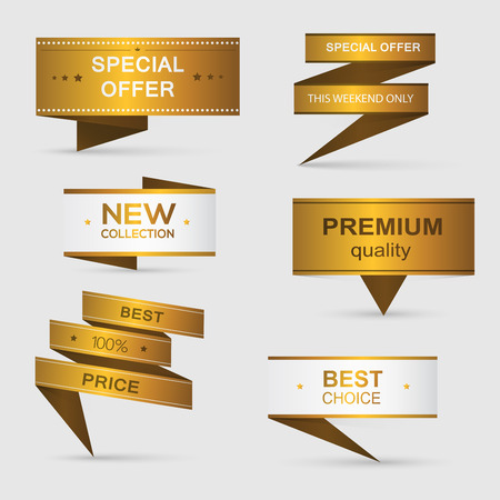 prices: Collection of golden premium promo banners. isolated vector illustration