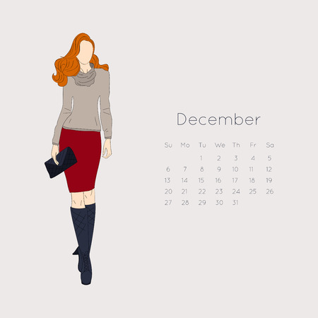 old diary: Calendar with fashion girl 2015. Vector illustration.