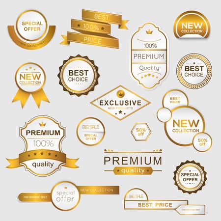 sellos: Colecci�n de oro promocionales prima sellos  pegatinas. ilustraci�n vectorial aislado