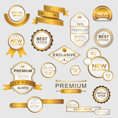 prices: Collection of golden premium promo sealsstickers. isolated vector illustration Illustration