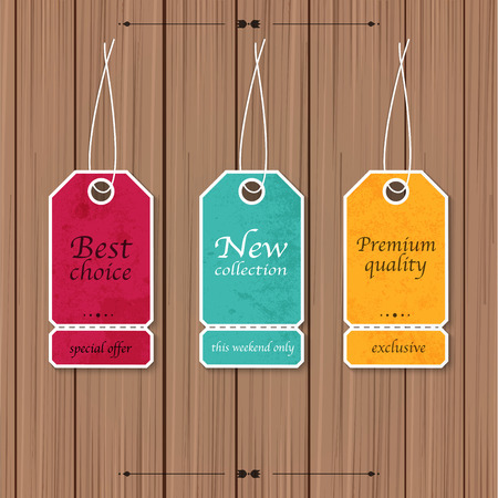Collection of Sale Discount Vintage Banners on a wood background. Vector illustration. Vector