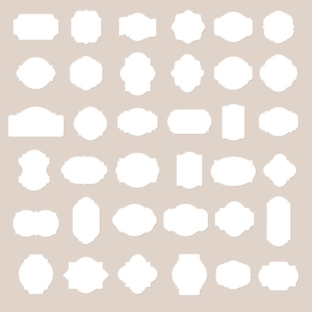old frame: Paper texture collection blank frames and label set. Vector illustration.