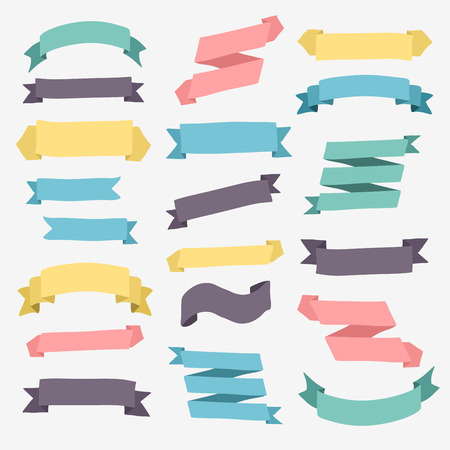 Set of design elements vintage banners ribbons. Vector illustration.