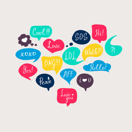 speak bubble: Colorful questions speech bubbles set in flat design with short messages.