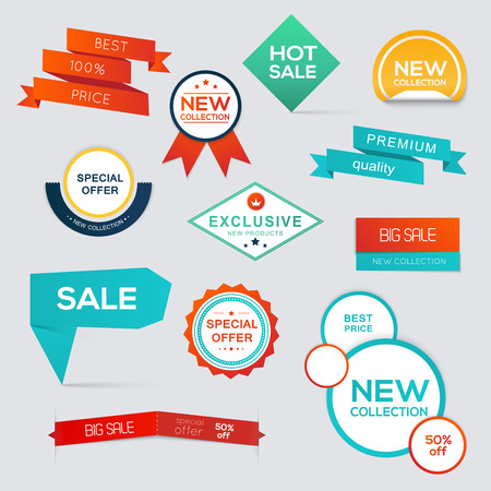 Collection of Sale Discount Styled origami Banners. Vector Illustration  イラスト・ベクター素材