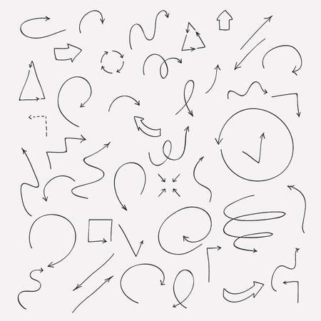 describe: Hand drawn vector arrow collection.