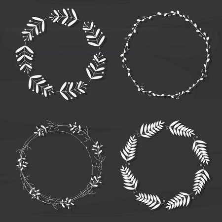 wreaths: Set with floral wreaths. Template for wedding, mothers day, birthday, invitations.