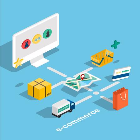 Piso Web 3d comercio electrónico isométrica, el comercio electrónico, compras en línea, pago, entrega, proceso de envío, ventas, viernes negro concepto infografía vector. botón de compra tableta.