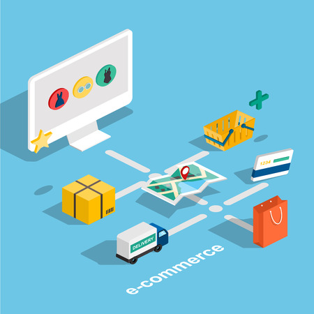 Flat 3d web isometric e-commerce, electronic business, online shopping, payment, delivery, shipping process, sales, black friday infographic concept vector. tablet buy button.